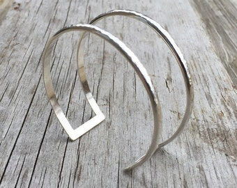 Silver Cuff Bracelet, Sterling Silver Cuff, Hammered Cuff, Minimalist Cuff, Silver Cuff, Sterling Bracelet, Silver Bangle, Double Cuff,