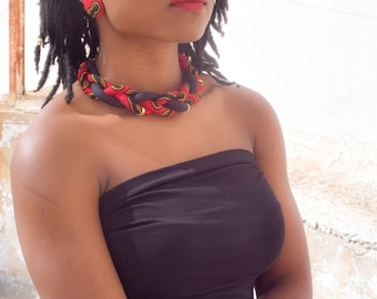 Nefertiti Red Yellow & Black Statement Necklace Adorned with Gold Tubes