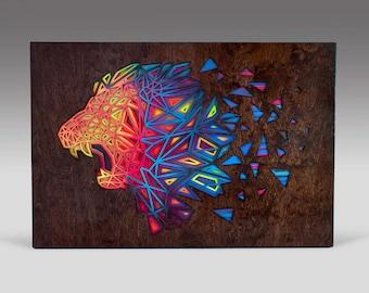 Pride - Subtractive wood sculpture, hand made art, lion, laser cut, acrylic paint