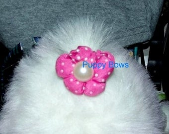 SALE! Puppy Bows ~ dog hair snap clips all assorted variety 5 puffy flowers pink red