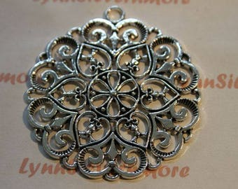 2 pcs per pack of 60mm Large Filigree Pendant Antique Silver Finish Lead free Pewter