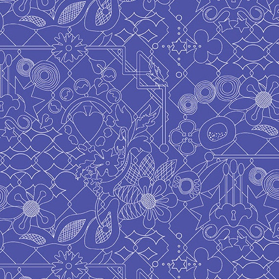 OVERGROWN Sapphire Blue Sunprint 2017 A-8482-B Alison Glass Sold in 1/2 yd increments