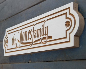 "14""x4"" White Fantasy Family Name Sign, Horizontal Last Name Plaque, Mailbox Plaque"