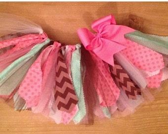 Pink, Brown, and Mint Green Scrap Fabric Tutu