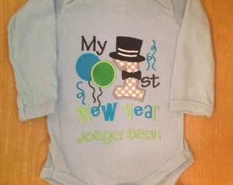 My 1st New Year's Embroidered Baby Bodysuit or Shirt