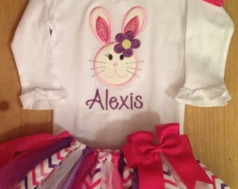 Pink and Purple Girly Easter Bunny Tutu Outfit