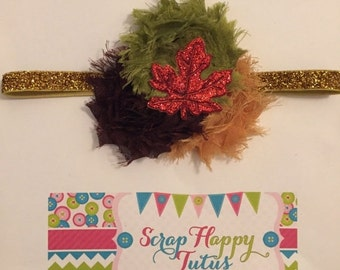 Dark Brown, Khaki, Olive Green,  and Gold Shabby Flower Fall Leaves Headband