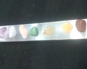 Selenite Charging Plate W/ 8 pc chakra stone set.
