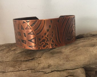 """Handcrafted Hand Drawn, Etched Copper Cuff. Large, about 8""""."""