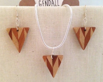 Handmade Geometric Wooden Earrings and Necklace