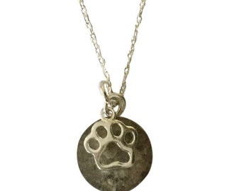 Cremation Paw Print  Personalized Pendant
