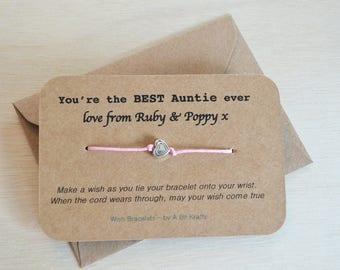 Wish Bracelet, Best Auntie, Personalised with envelope