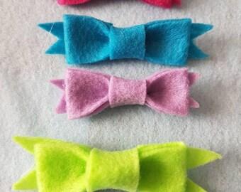 Sorbet Collection| Set of Four Felt bow baby headband| Felt bow Hair clip| Photography Prop, newborn, infant, toddler