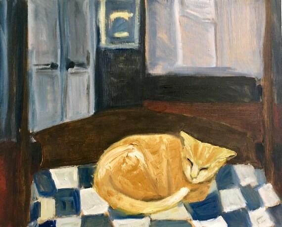 Original Oil Painting:Sleeping  Orange Tabby Cat
