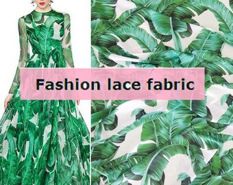 "Green banana leaves style, chiffon fabric, Maxi skirt fabric,Printed leaves fabric by 1m-FSAB- 59""(150 cm) Wide"