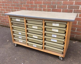 NOW SOLD Children's Kids Arts and Craft Table Old School Bank of Drawers