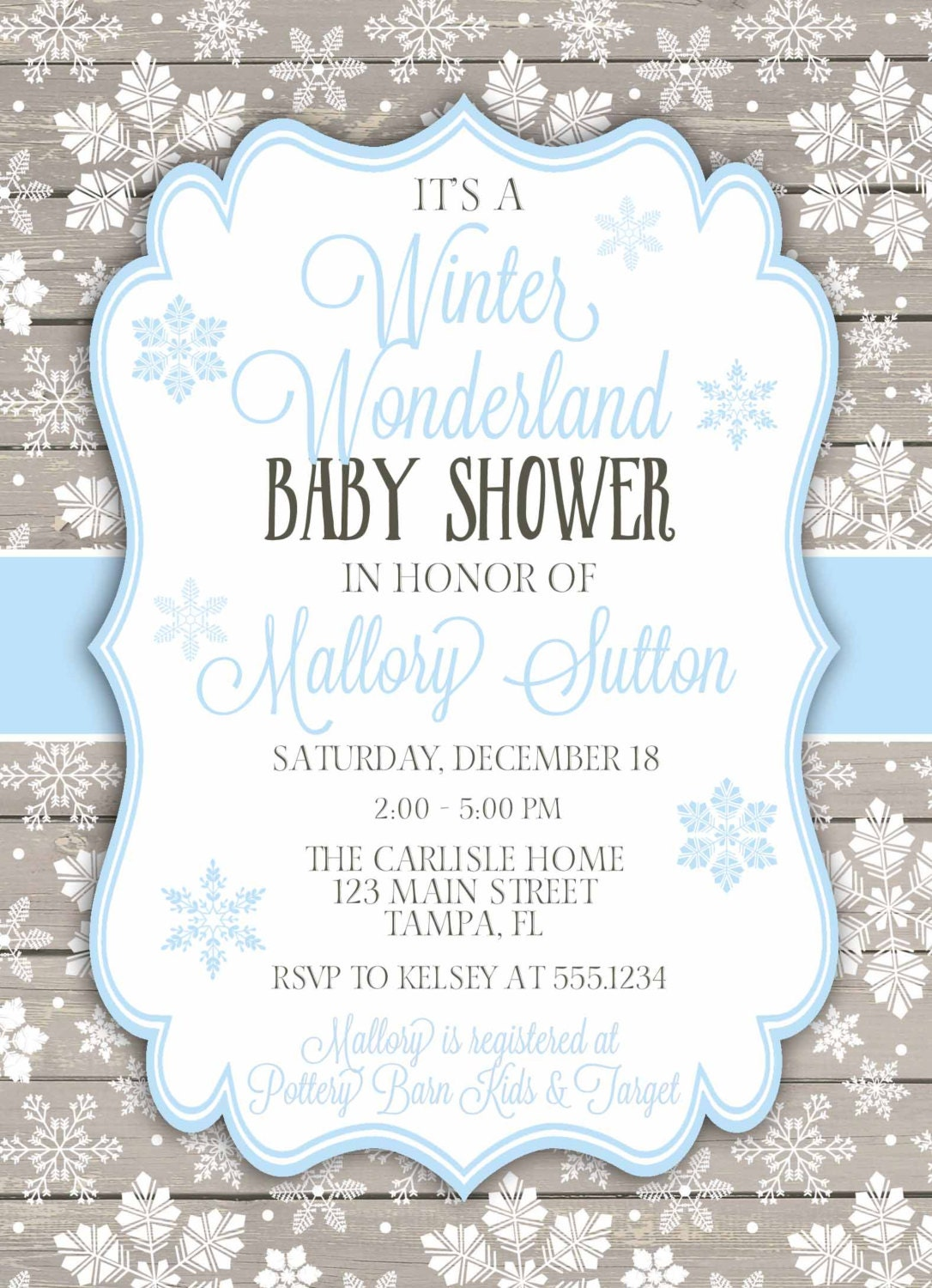 Winter Wonderland Baby Shower Invitation, Winter Baby Shower, Snowflake Baby  Shower Invitation, Snowflake Invitation, DIY Printable