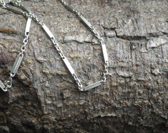 Sterling Silver Bar and Chain Link Necklace Chain Long Chain