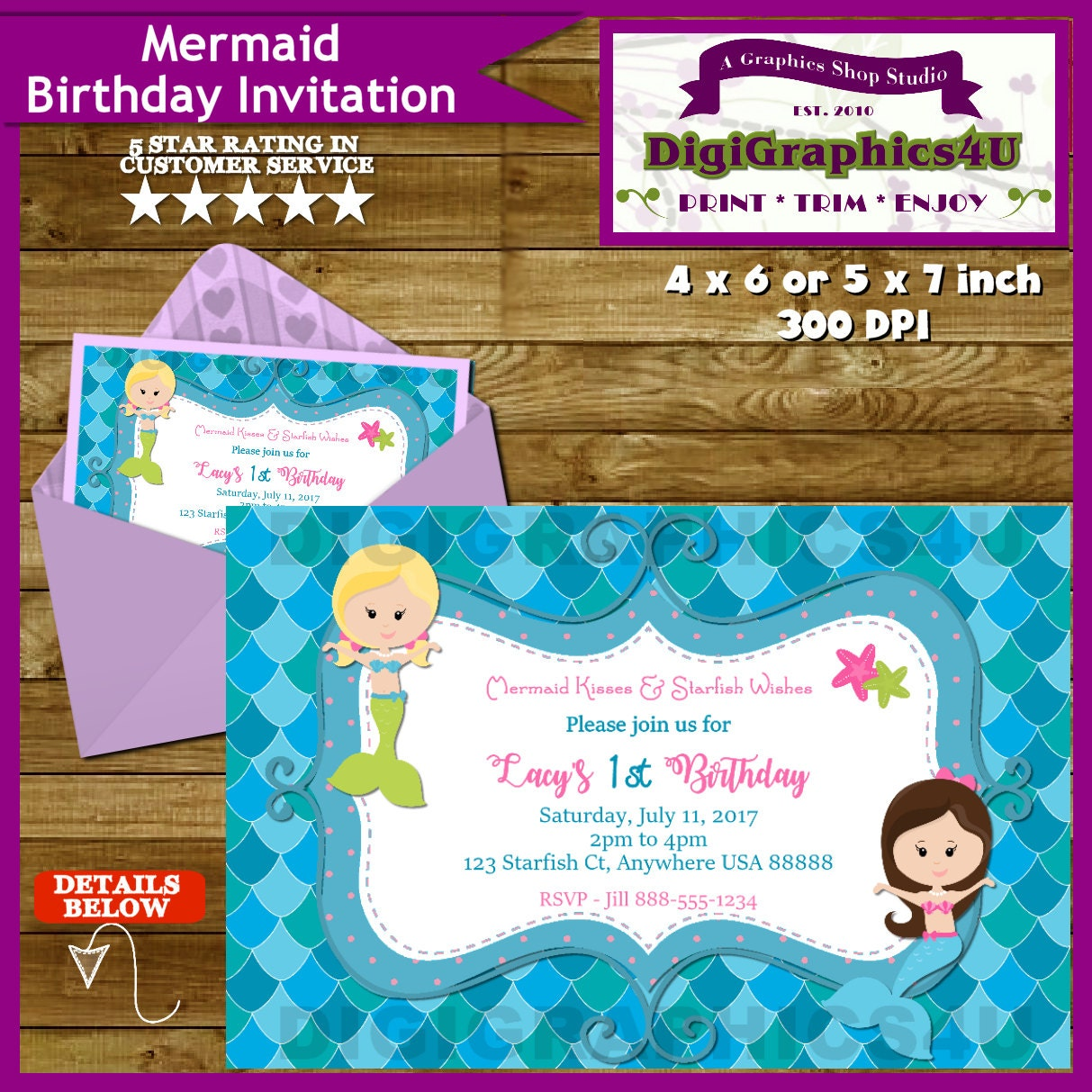 Little Girls Mermaid Birthday Party Invitation Personalized