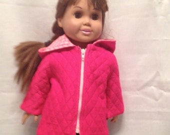 "18"" Doll Jacket: Hooded pink jacket for the Maplelea and American girl jacket"