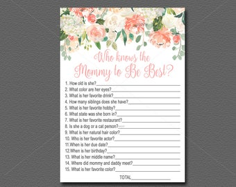 Peach Baby Shower game Who Knows Mommy Best, Peach Floral Baby Shower Activity, Peach & Mint Flower Baby Shower, DIY Instant Download  028