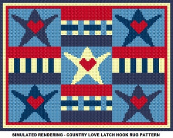 Country Love Latch Hook Rug Pattern   PDF Instant Download