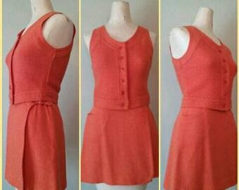 Orange 1960s Bobbie Brooks Skirt and Vest, RARE Orange Skirt Set, Vintage Micro Wrap Skirt and Vest Set, Bobbie Brooks Vintage, XS, XXS