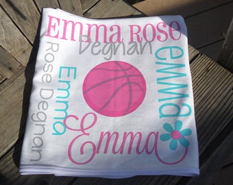 Personalized Girl Basketball Baby Blanket - Pink Basketball Receiving Blanket - Sports Name Blanket - Newborn Swaddling Blanket - Baby Gift