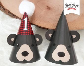 Black Bear 1st Birthday Party Hats // INSTANT DOWNLOAD // Lumberjack Birthday Party // Buffalo Plaid // Baby Bear Hat // Printable BP09