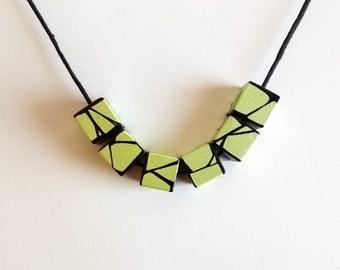 Geometric Wood Necklace IN Metallic Lime Green