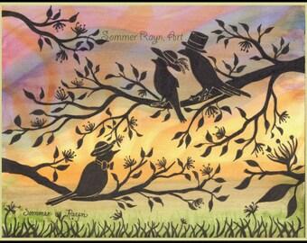 Well Dressed Birds enjoying Spring Sunrise,  watercolor print or card, Shadow Kitties, Item 0468