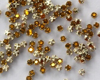 4mm citrine flatback Swarovski Rose Montees, Gold Plated Mounted , lot of 12, ss16, sew on rhinestones , 2028/2058