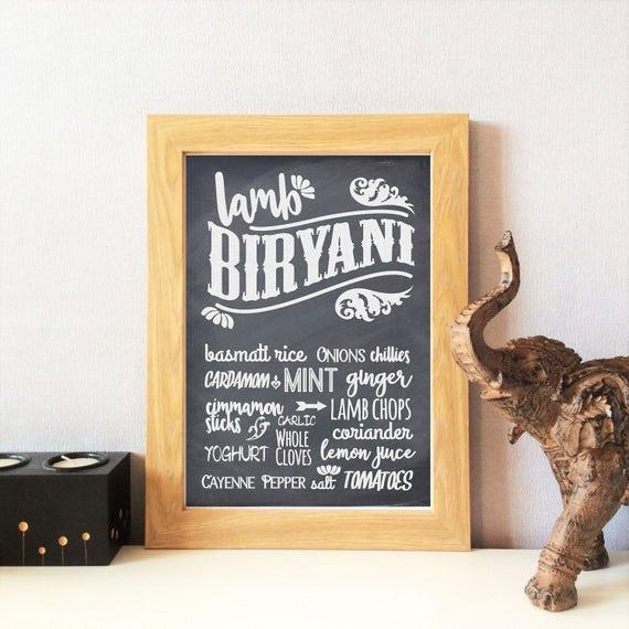 Indian Food Kitchen Print Lamb Biryani Home Decor Dining
