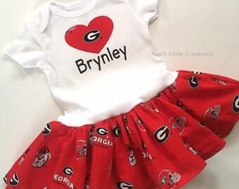 Georgia Bulldogs Bodysuit Dress, Custom Personalized UGA Baby Girl Dress with name, Personalized Bodysuit Dress with name