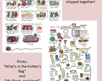 Two Prints: What's in the Knitter's Bag and My Stash Explained