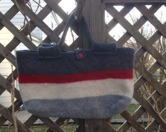 Hand Knit and Felted Wool Market Bag