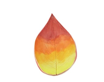 Grape Leaf dish - pottery - Sunset leaf - landscape - ring dish - spoon rest - fall leaf - decor - firey landscape - handpainted