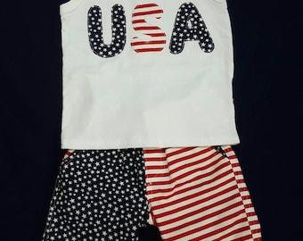4th of July Patriotic shorts and tank set