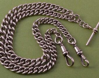 Silver 1900's Double Watch Chain (926w6)