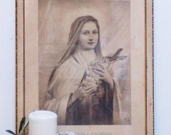 Tableau de Sainte Thérèse à l'enfant Jésus, tableau religieux