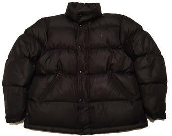 Vintage Polo Ralph Lauren Bubble Goose Down Jacket L/XL Black Puffer Winter