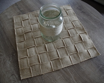 Hessian Woven Rustic Square Table Mat