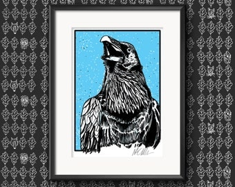 Raven (Two) Illustration Print A4