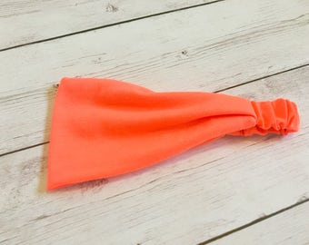 Neon Orange Headband, Neon Headwrap, Yoga Headband, Orange Running Headband, Women's Headwrap, Turban, Top Knot, Yoga, Pilates, Dance