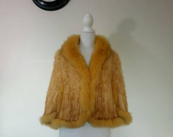 Vintage Caramel knitted rabbit fur cape jacket wedding caplet