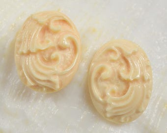 Apricot CONCH Shell Carving CABOCHON Earring Pair CAMEO-style Hand-carved