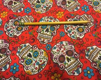 Red Día de Los Muertos/Calaveras Pencil Case, Wristlet, Cosmetic Bag #1