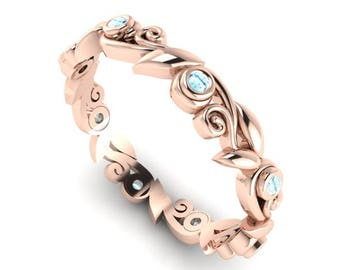 Aquamarine Wedding Band, Leaves and Vine Wedding Ring