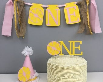 Ultimate cake smash package, lemonade, lemonade birthday, first birthday, girls birthday hat, cake topper, high chair banner, outfit