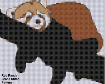 Red Panda Cross Stitch Pattern